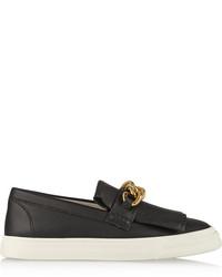 Black Embellished Leather Slip-on Sneakers