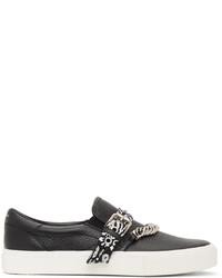 Amiri Black Bandana Chain Slip On Sneakers