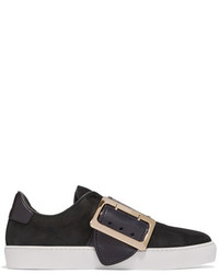 Burberry Buckle Embellished Leather Trimmed Nubuck Slip On Sneakers Black