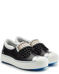 Fendi Embellished Leather Platform Slip On Sneakers