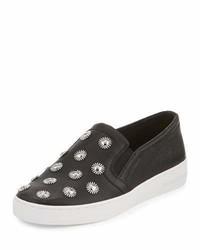 MICHAEL Michael Kors Michl Michl Kors Leo Embellished Leather Slip On Sneaker Black