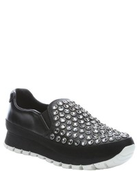 Prada Sport Black Leather Embellished Slip On Sneakers