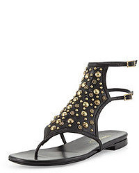Black Embellished Leather Thong Sandals