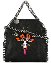 Black Embellished Leather Tote Bag