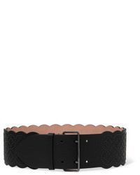 Alaia Alaa Arabesque Embellished Leather Waist Belt Black