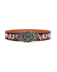 Etro Embellished Embroidered Faille And Leather Waist Belt