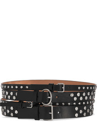 Alexander McQueen Embellished Leather Waist Belt Black