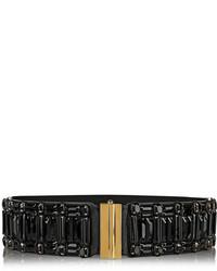 Marni Crystal Embellished Leather And Elastic Waist Belt
