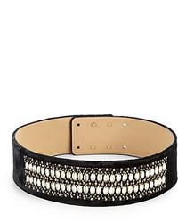 St. John Embellished Velvet Waist Belt