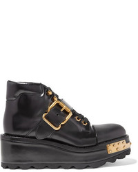 Prada Embellished Leather Wedge Ankle Boots Black