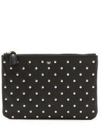Black Embellished Leather Zip Pouch