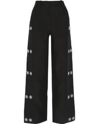 Loewe Embellished Linen Wide Leg Pants Black