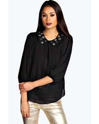 Boohoo lara embellished collar blouse medium 181826