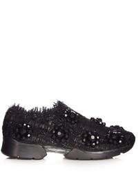 Embellished low top tweed trainers medium 781608