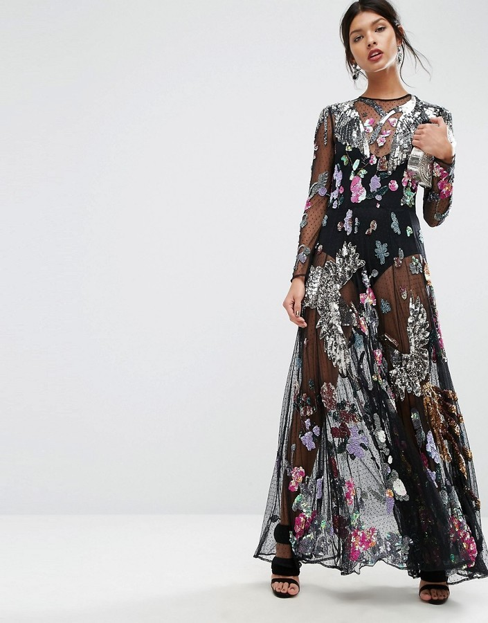 f271318482 Asos Salon Embellished Bird Floral Maxi Dress, $271 | Asos ...