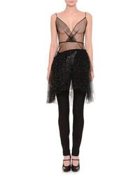 Valentino Sleeveless Embellished Sheer Top Black