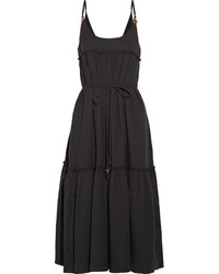 Stella McCartney Embellished Cotton Seersucker Midi Dress Black