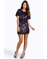 Boohoo Anita All Over Heavily Embellished Deco Mini Skirt