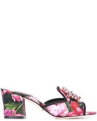 Dolce & Gabbana Embellished Rose Print Mules
