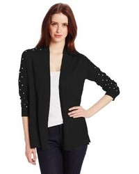 Chaus Long Sleeve Open Front Embellished Cardigan