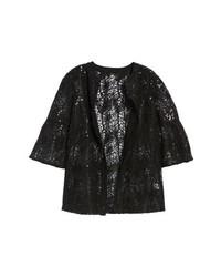 Black Embellished Open Jacket