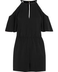 Gemini embellished cold shoulder stretch crepe playsuit black medium 5083768