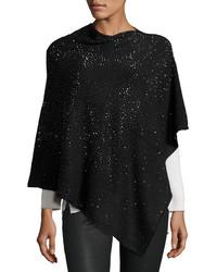 Neiman Marcus Embellished Asymmetric Poncho Top Black