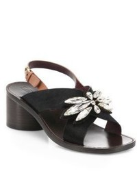 Marc Jacobs Madison Embellished Calf Hair Slingback Sandals