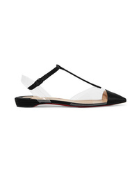Christian Louboutin Nosy Crystal Embellished Satin And Pvc Point Toe Flats