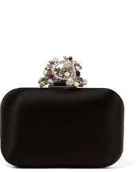 29bfaa9aea62 ... Jimmy Choo Cloud Interchangeable Swarovski Pearl And Crystal  Embellished Satin Clutch Black