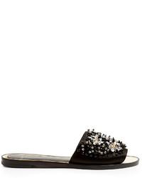 Lanvin Embellished Satin Slides
