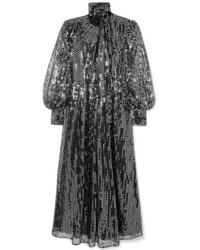 MSGM Sequined Chiffon Maxi Dress