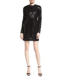 Victoria Beckham Embellished Paneled Shift Dress Black