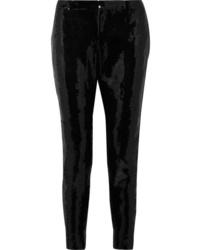 Saint Laurent Sequined Crepe Skinny Pants