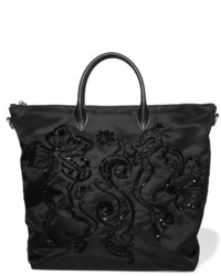 Prada Leather Trimmed Embellished Shell Tote Black