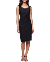Embellished neck ruched sheath dress medium 785259