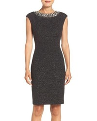 Embellished sparkle knit sheath dress medium 1249152