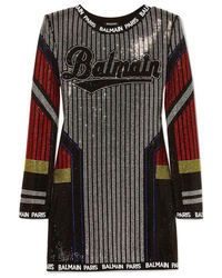 Balmain Med Crystal Embellished Stretch Jersey Mini Dress
