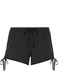 The Upside Bowie Bow Embellished Cotton Blend Jersey Shorts Black