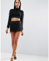 Asos Night Embellished Fringe Co Ord Shorts