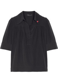 Marc Jacobs Embellished Silk Crepe De Chine Blouse Black