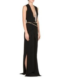 Lanvin Jewelry Embellished V Cut Silk Gown