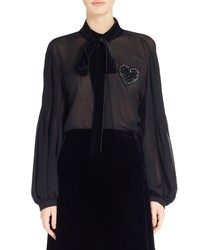 Fendi Heart Embellished Silk Blouse