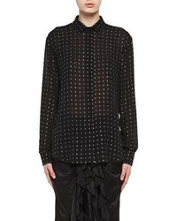 Saint Laurent Crystal Embellished Silk Georgette Shirt