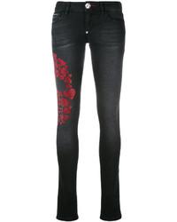 Philipp Plein Embellished Heart Skull Skinny Jeans