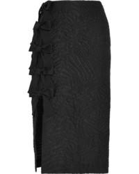 Fendi Bow Embellished Cloqu Midi Skirt Black