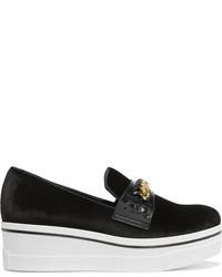 Stella McCartney Embellished Velvet Platform Slip On Sneakers Black