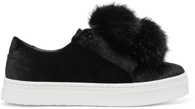 fcc771463e62d6 ... Sam Edelman Leya Faux Fur Embellished Velvet Slip On Sneakers Black ...