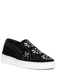 Michael Kors Michl Kors Nadine Embellished Suede Slip On Sneaker