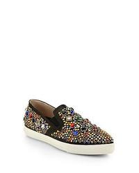 Miu Miu Jeweled Leather Slip On Sneakers Black